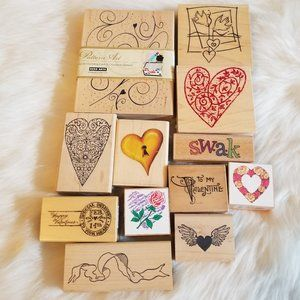 12 Love/Valentine Themed Retired Rubber Stamps New